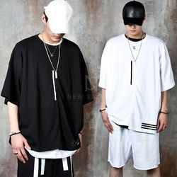 Contrast lined unbalanced hem oversized t-shirts