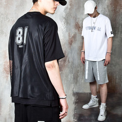 Mesh layered lettering t-shirts
