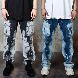 Bleached denim banded cargo pants