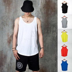 Plain bio washed round hem tank-top