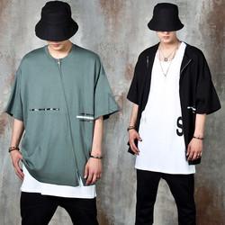 Diagonal zipper accent loose fit t-shirts