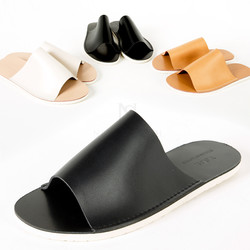 Flat leather slide slipper