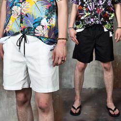 Banded linen shorts