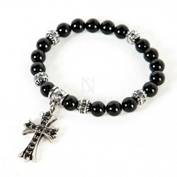 Cubic metal cross charm beads bracelet