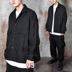 Oversized big pocket black shirts