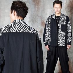 Zebra pattern contrast button-up shirts