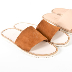 Suede & leather slide slipper