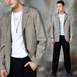 Checkered 3 button single jacket