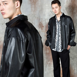 Wide cuff leather shirt jacket