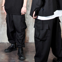 Baggy wide black cargo pants