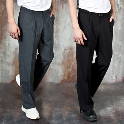 Simple pleated wide pants