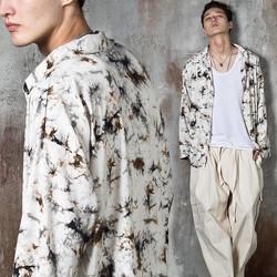 Tie-dye crack pattern silky shirts