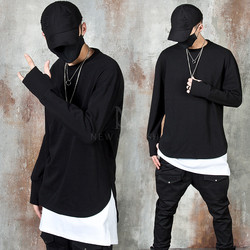 Unbalanced arm-warmer long sleeve t-shirts
