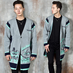 Carriage printed contrast knit long cardigan