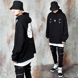 Contrast strap round logo hoodie