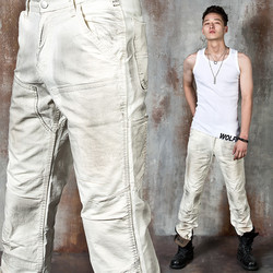 Distressed stain cotton pants