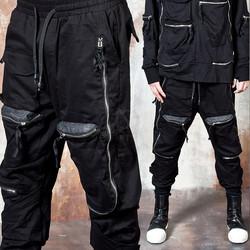Long zipper 3D pocket banded pants