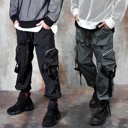 3D pocket strap banded pants