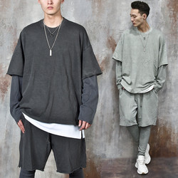 Layered distressed hem loose fit sweatshirts