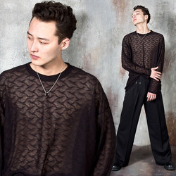 Wave patterned see-through long sleeve t-shirts