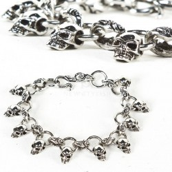 Multiple mini skull charm chain bracelet