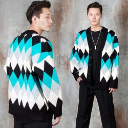 Contrast diamond patterned knit cardigan