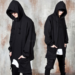 Unbalanced double pocket hem hoodie