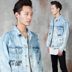 Paint distressed washed denim jacket