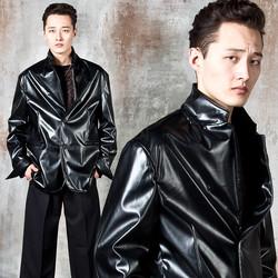 Two button leather blazer jacket