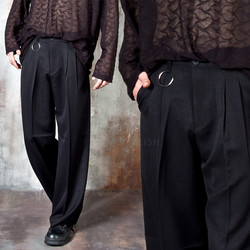 Pleated O-ring wide pants