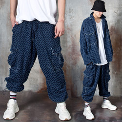 Distressed grunge blue herringbone pants