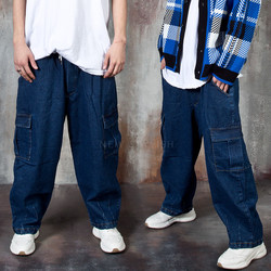 Deep blue denim balloon cargo pants