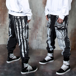 Hand painted denim baggy jogger pants