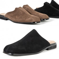 Suede backless loafer