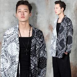 Half contrast paisley robe cardigan