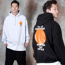 Orange circle contrast lettering hoodie