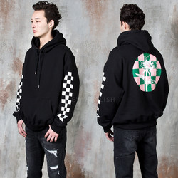 Chess pattern contrast flower hoodie