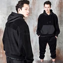 Contrast fur fleece hoodie