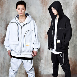 Long curved zipper 3D pocket zip-up hoodie