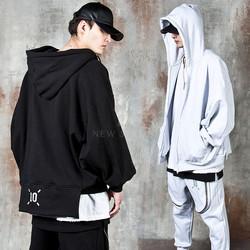 Unbalanced batwing zip-up hoodie