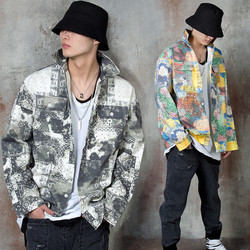 Artistic bandanna patterned cotton shirt jacket