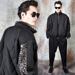 Leopard pattern contrast quilted jacket