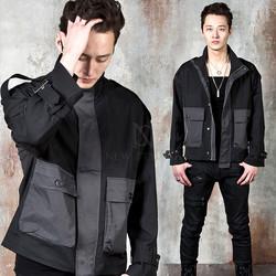Contrast lambwool lined oversized jacket