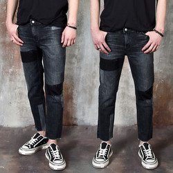 Contrast accent washed black slim jeans