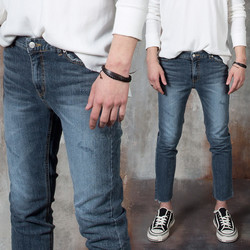 Scratch accent washed blue slim jeans