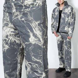 Marbling patterned straight pants