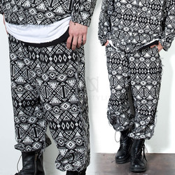 Ethnic patterned banded baggy pants