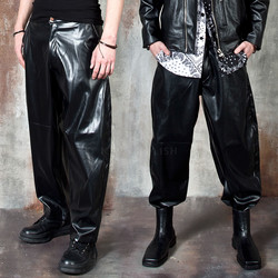 Wide baggy leather pants