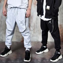 Long curved zipper 3D pocket banded pants