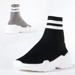 Chunky outsole striped socks sneakers